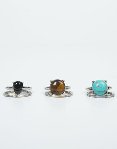Front View of Triple Stone Banded Ring Set