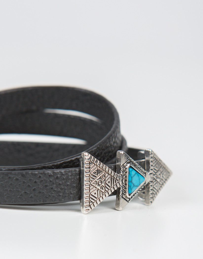 Detail of Triple Triangle Leather Wrap