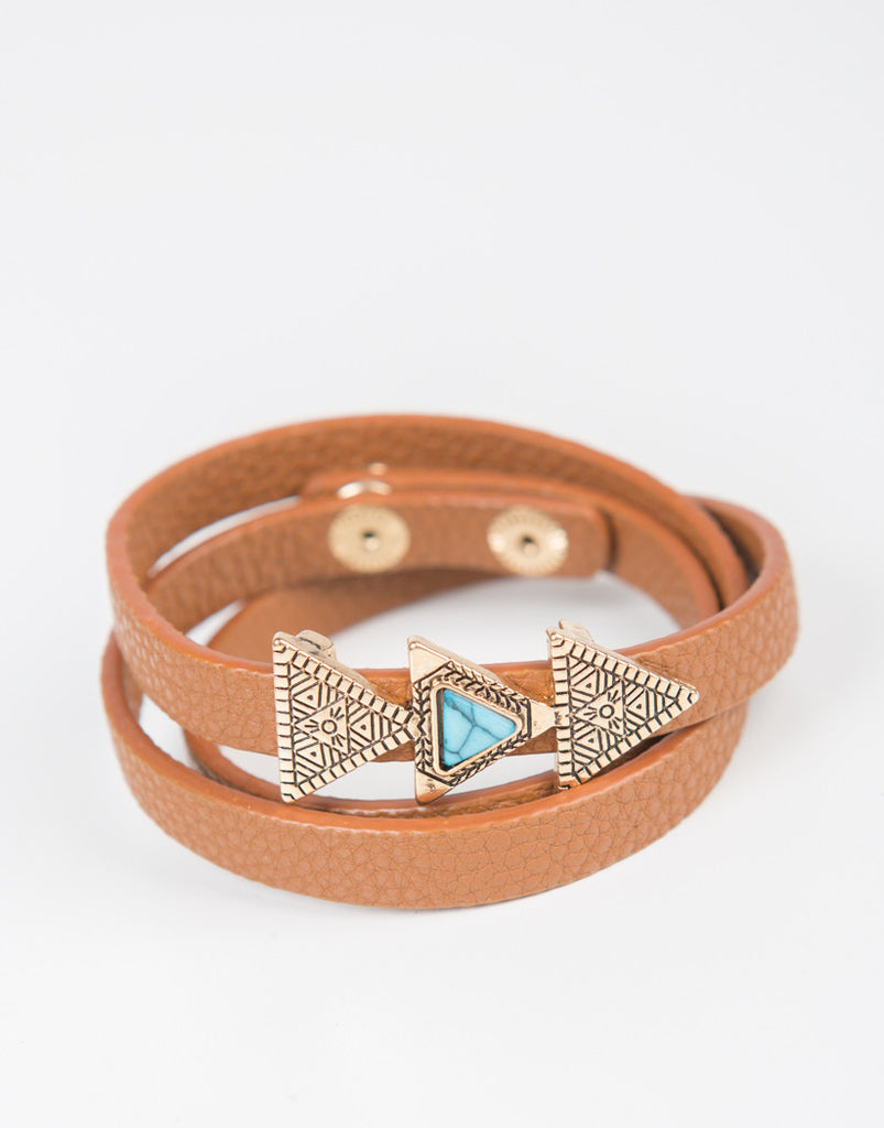 Front View of Triple Triangle Leather Wrap