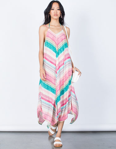 Pink Tropical Rainbow Dress - Front View