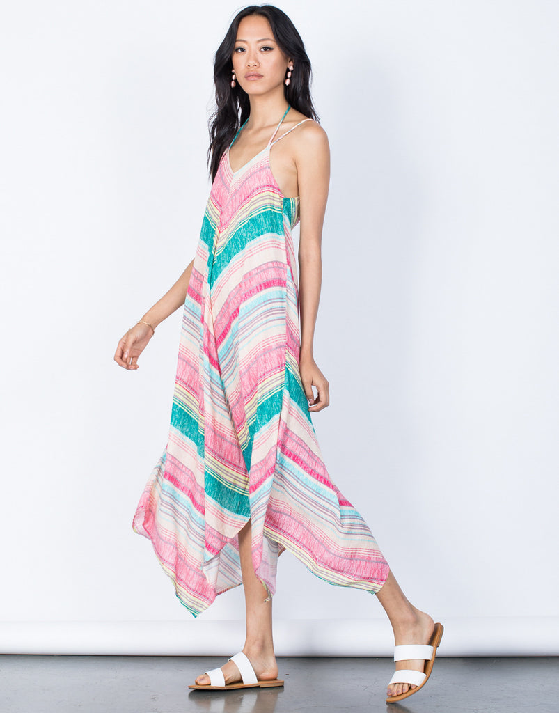 Pink Tropical Rainbow Dress - Side View