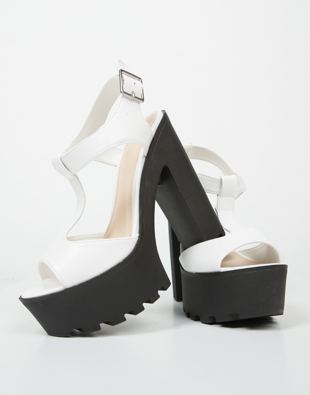 Front View of T-Strap Contrast Platform Heels