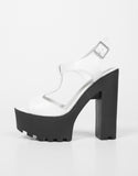 Side View of T-Strap Contrast Platform Heels