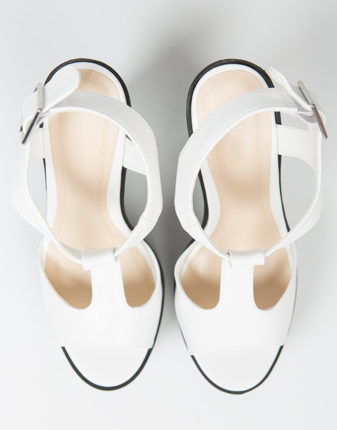 Top View of T-Strap Contrast Platform Heels