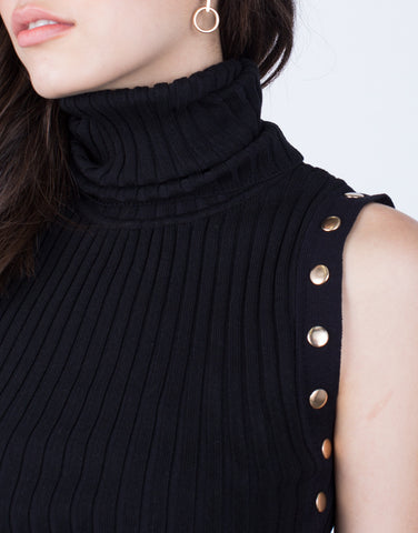 Turtleneck Buttoned Midi Dress