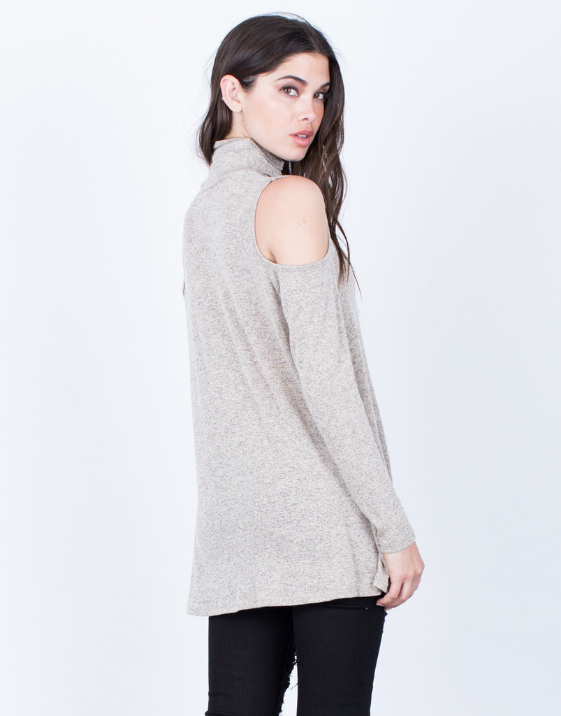 Back View of Turtleneck Knit Top