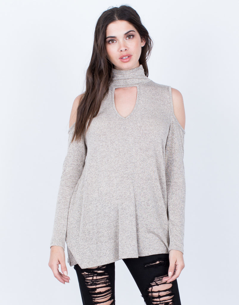 Front View of Turtleneck Knit Top