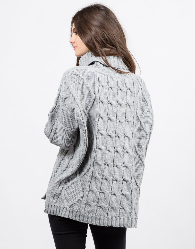 Back View of Turtleneck Chunky Knit Sweater