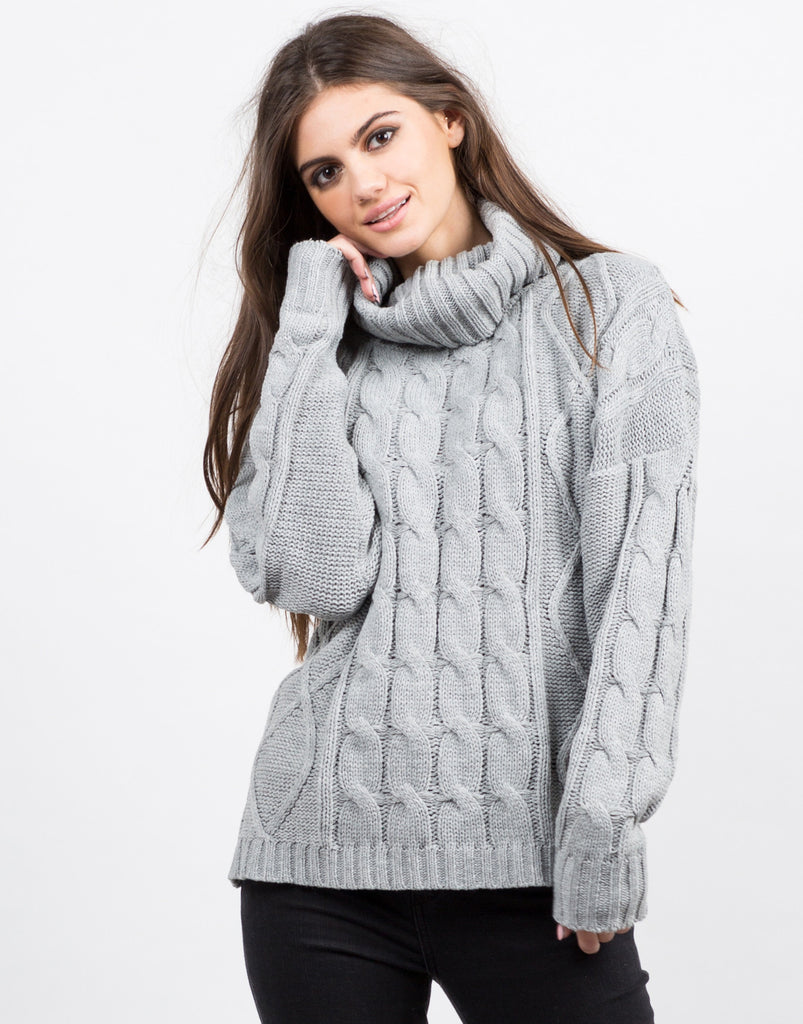 Front View of Turtleneck Chunky Knit Sweater