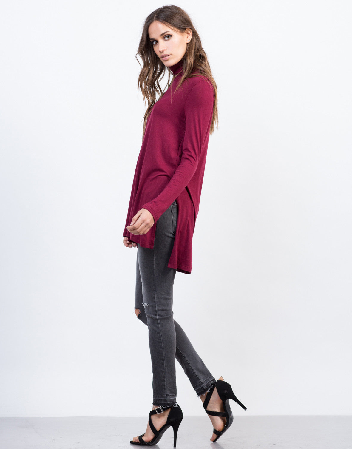 Side View of Turtleneck Long Sleeve Top