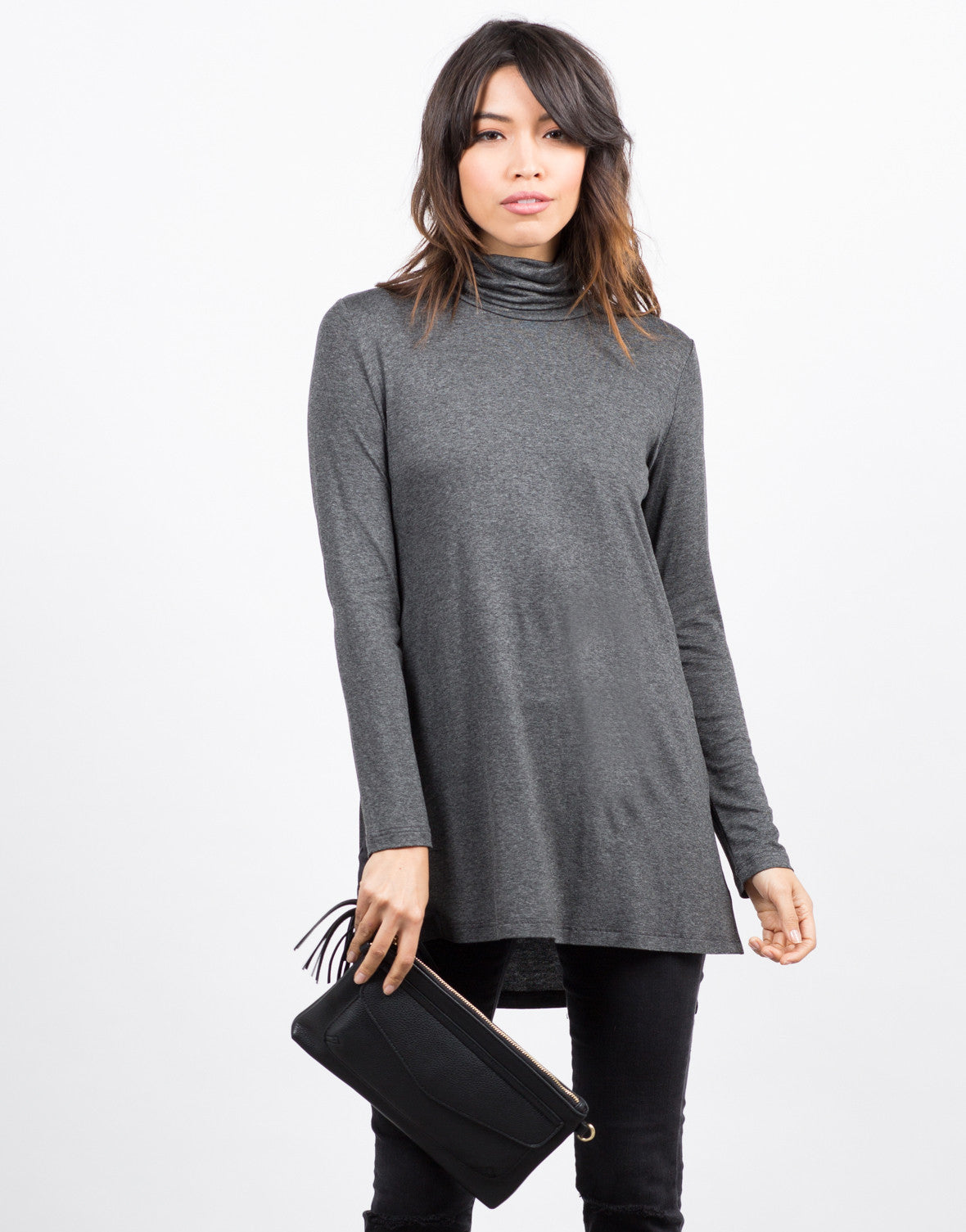 Front View of Turtleneck Long Sleeve Top