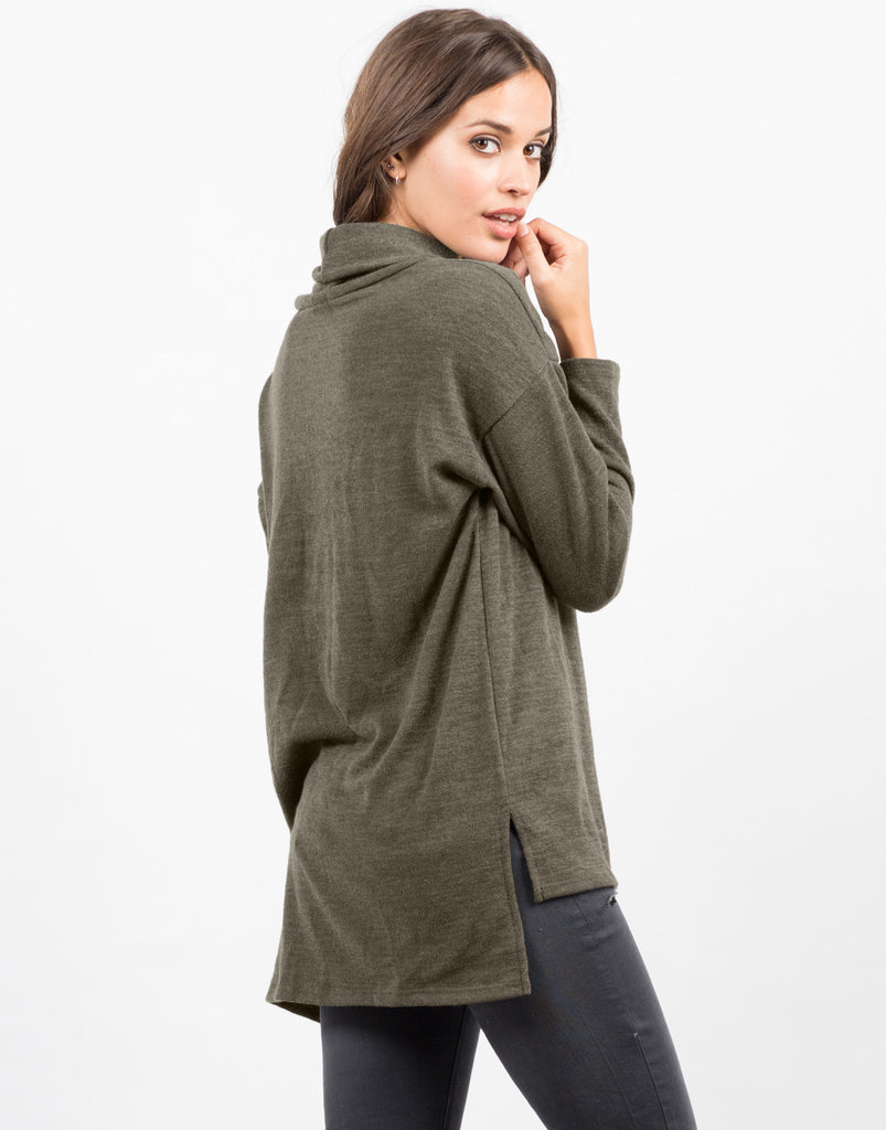 Back View of Turtleneck Long Sleeve Tunic Top