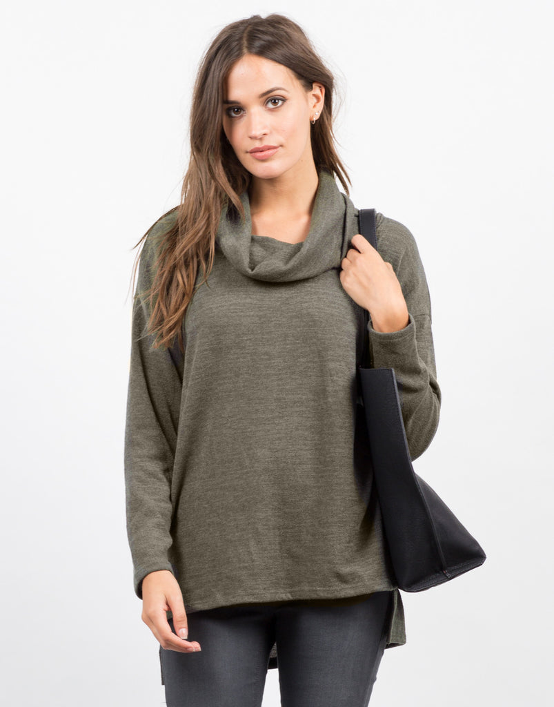 Front View of Turtleneck Long Sleeve Tunic Top