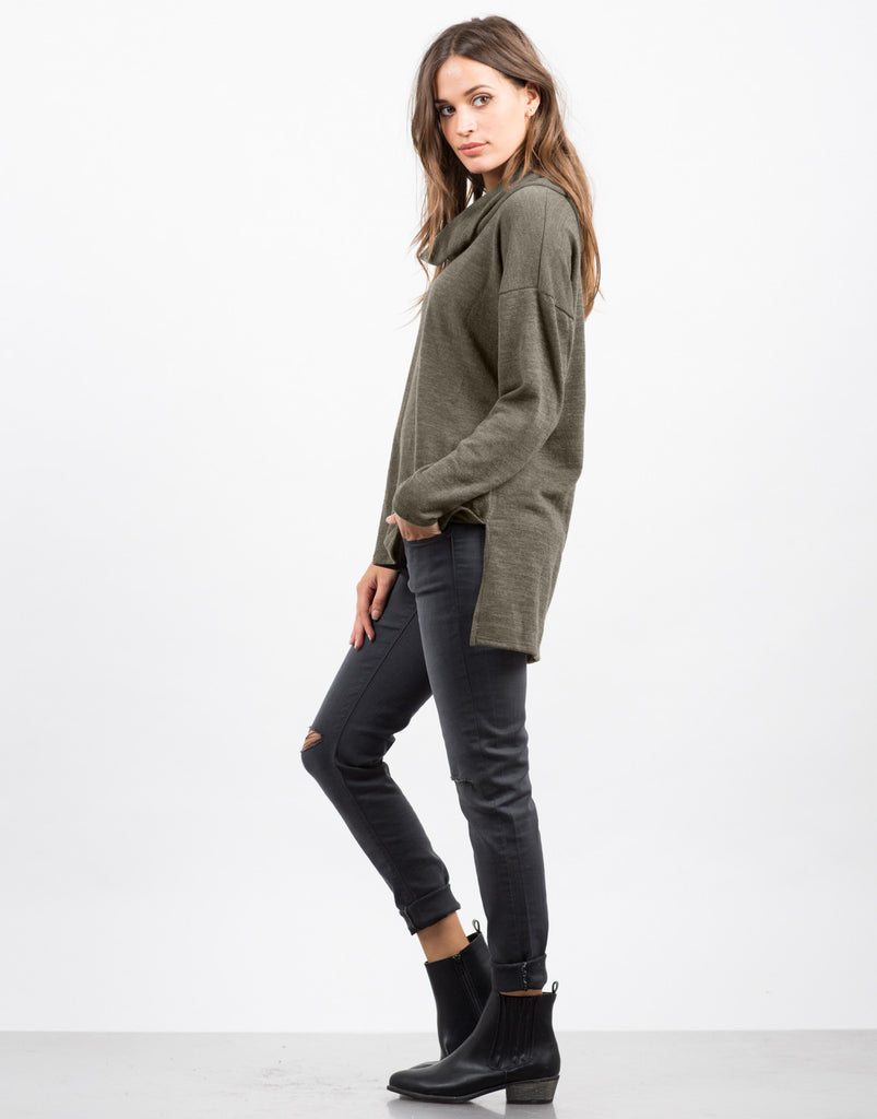 Side View of Turtleneck Long Sleeve Tunic Top
