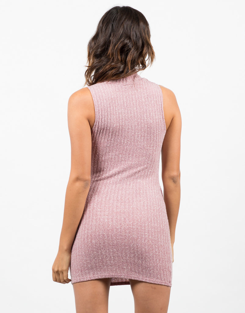 Back View of Turtleneck Ribbed Dress