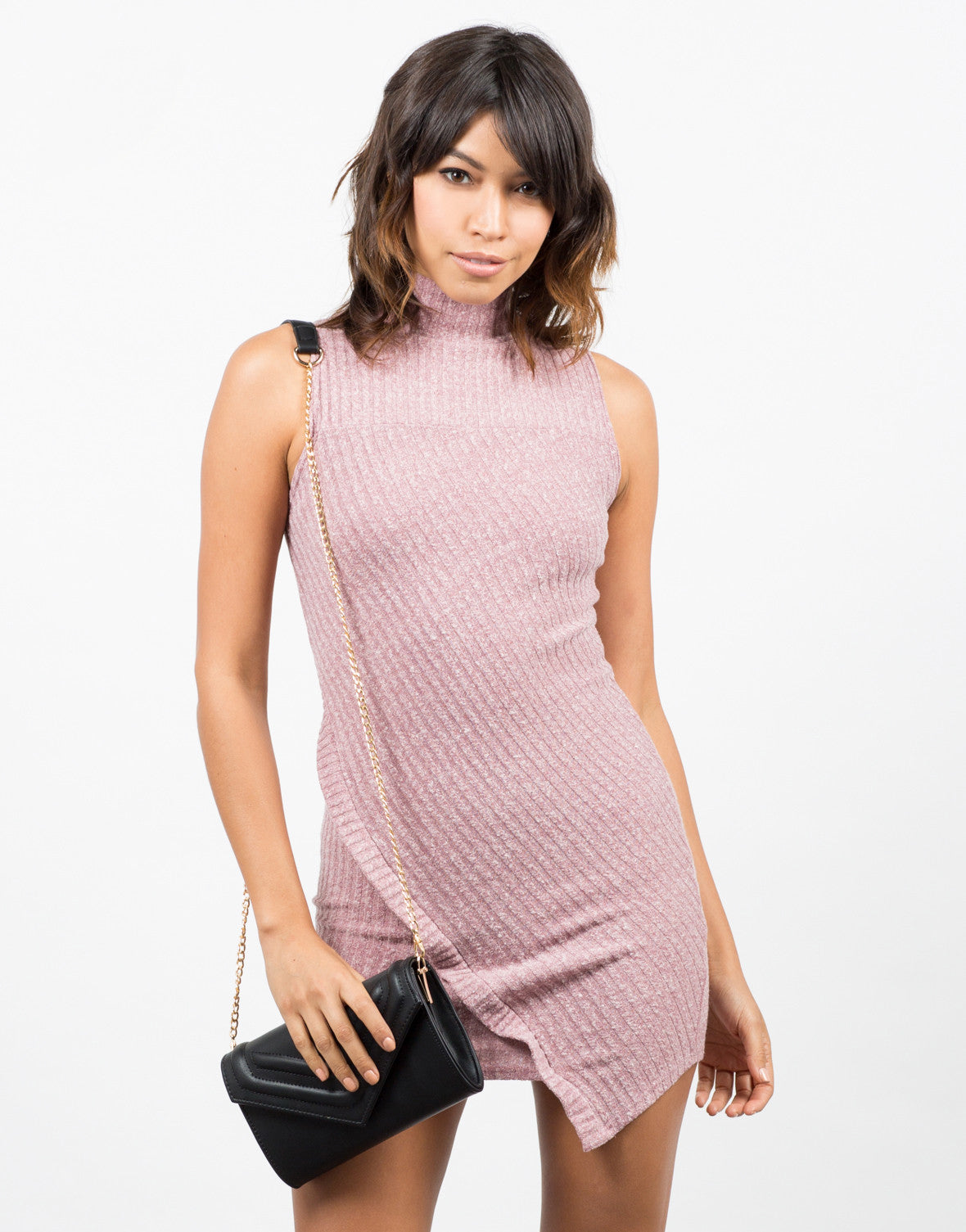 Front View of Turtleneck Ribbed Dress