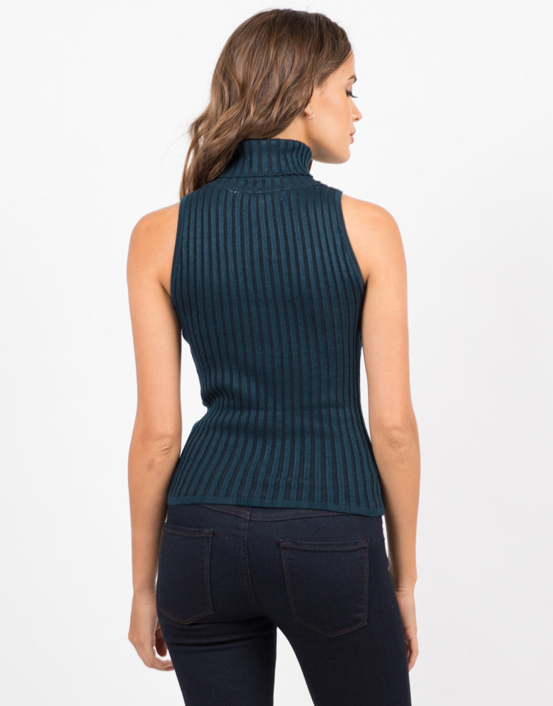Back View of Turtleneck Ribbed Top