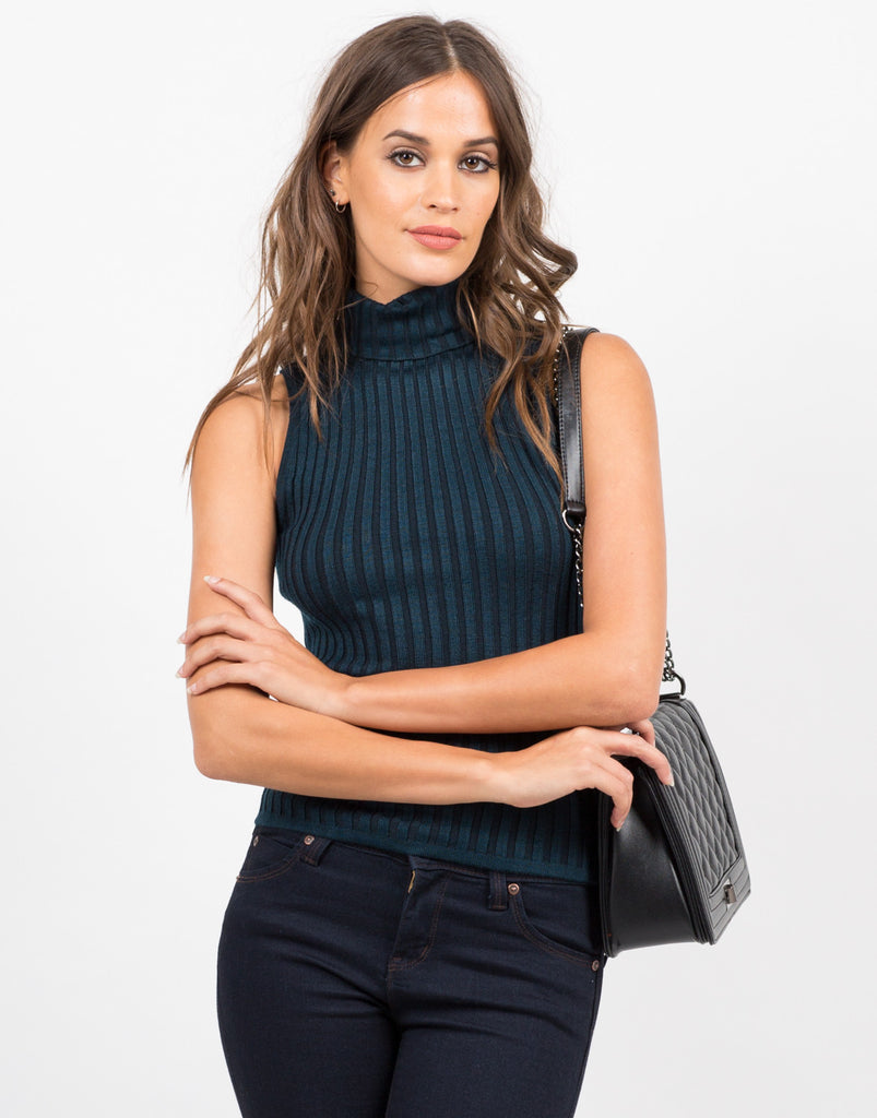 Front View of Turtleneck Ribbed Top
