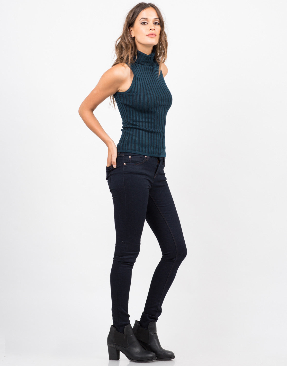 Side View of Turtleneck Ribbed Top