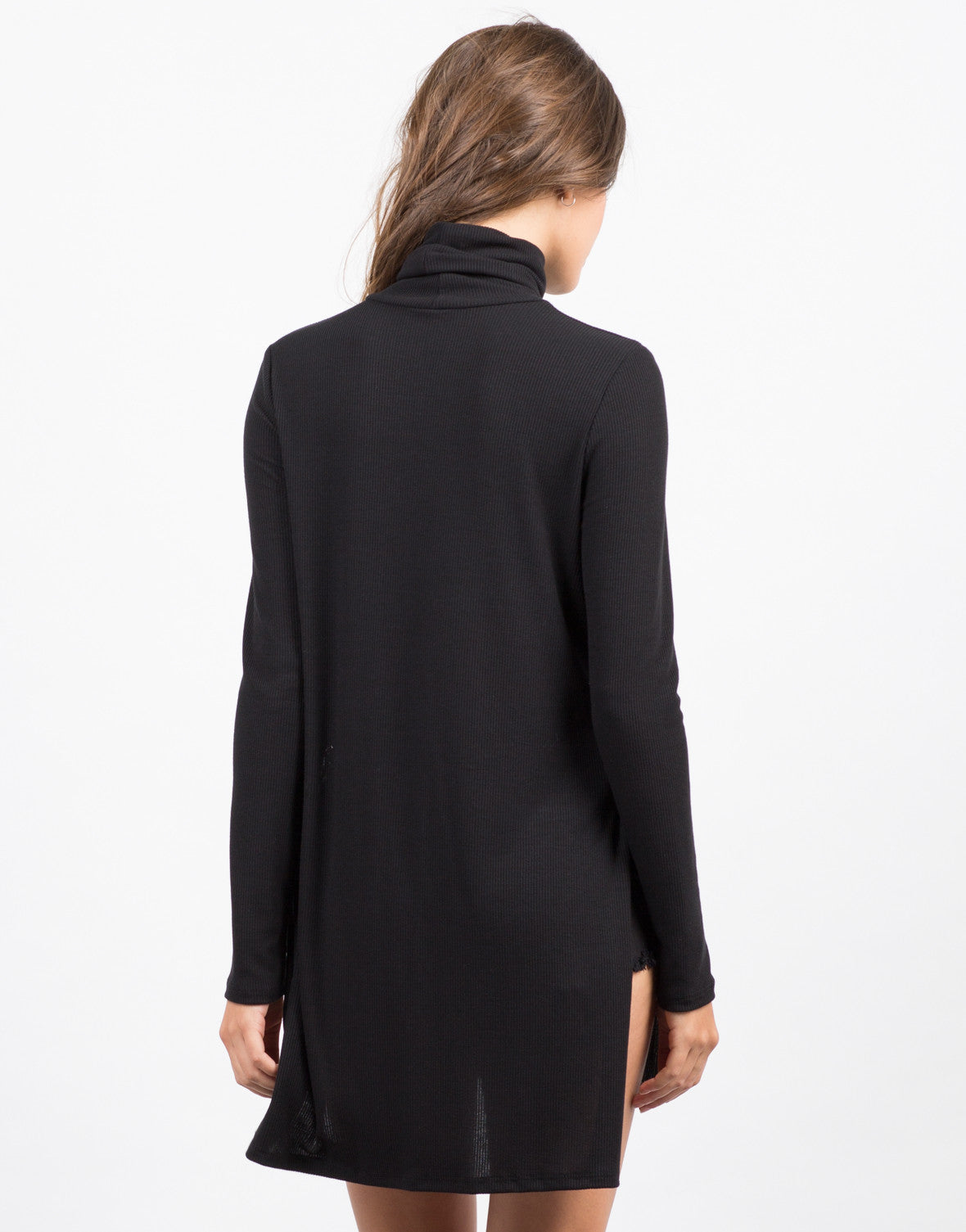 Back View of Turtleneck Side Slits Top