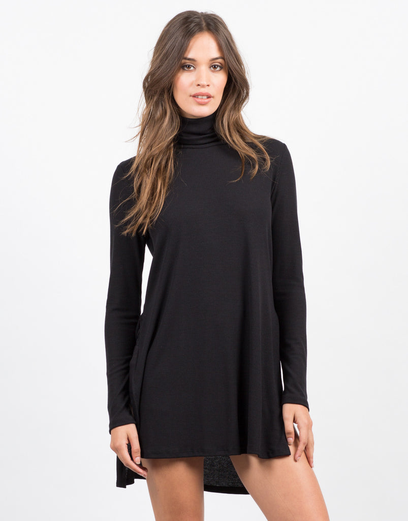 Front View of Turtleneck Side Slits Top