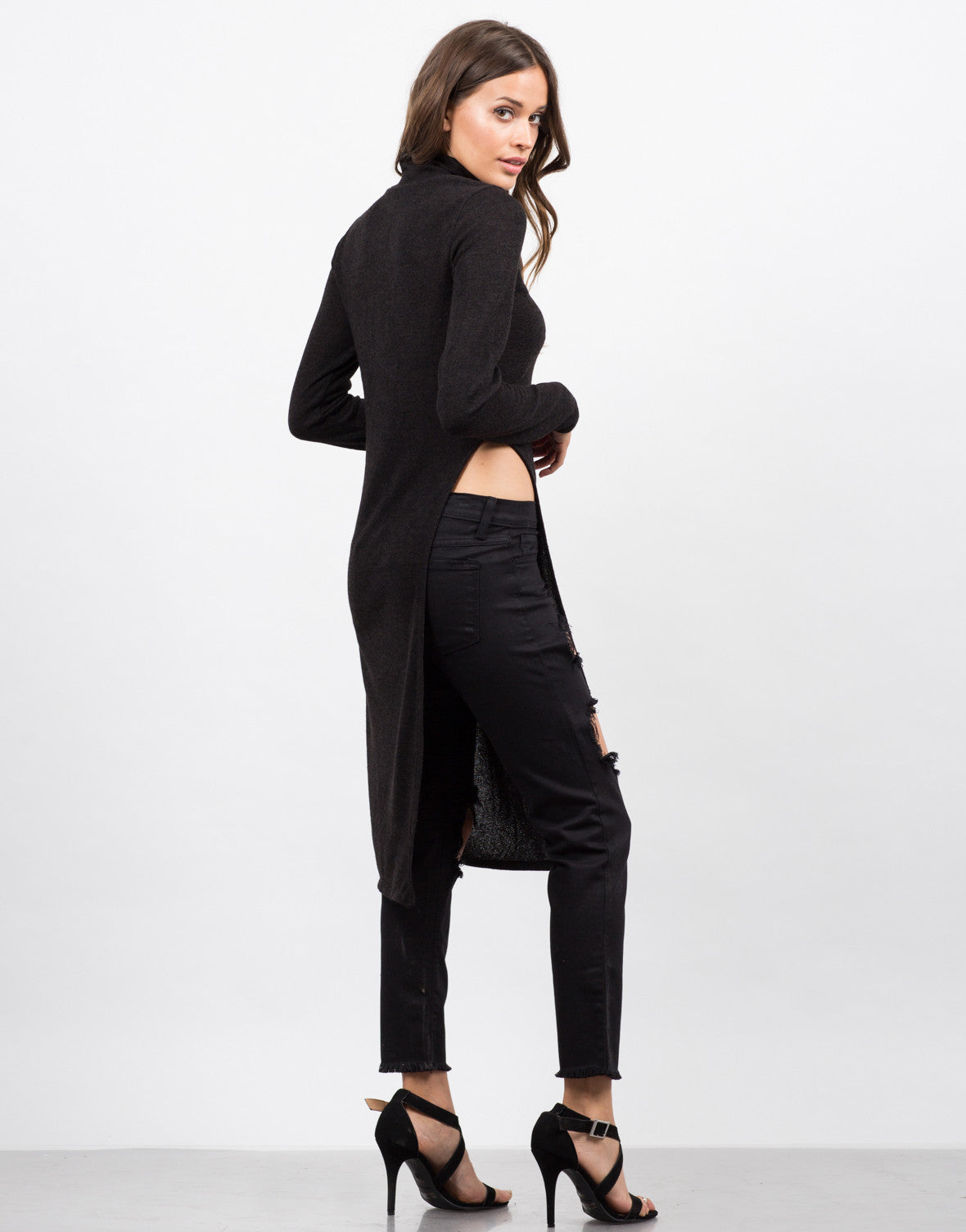 Back View of Turtleneck Side Slit Tunic Top