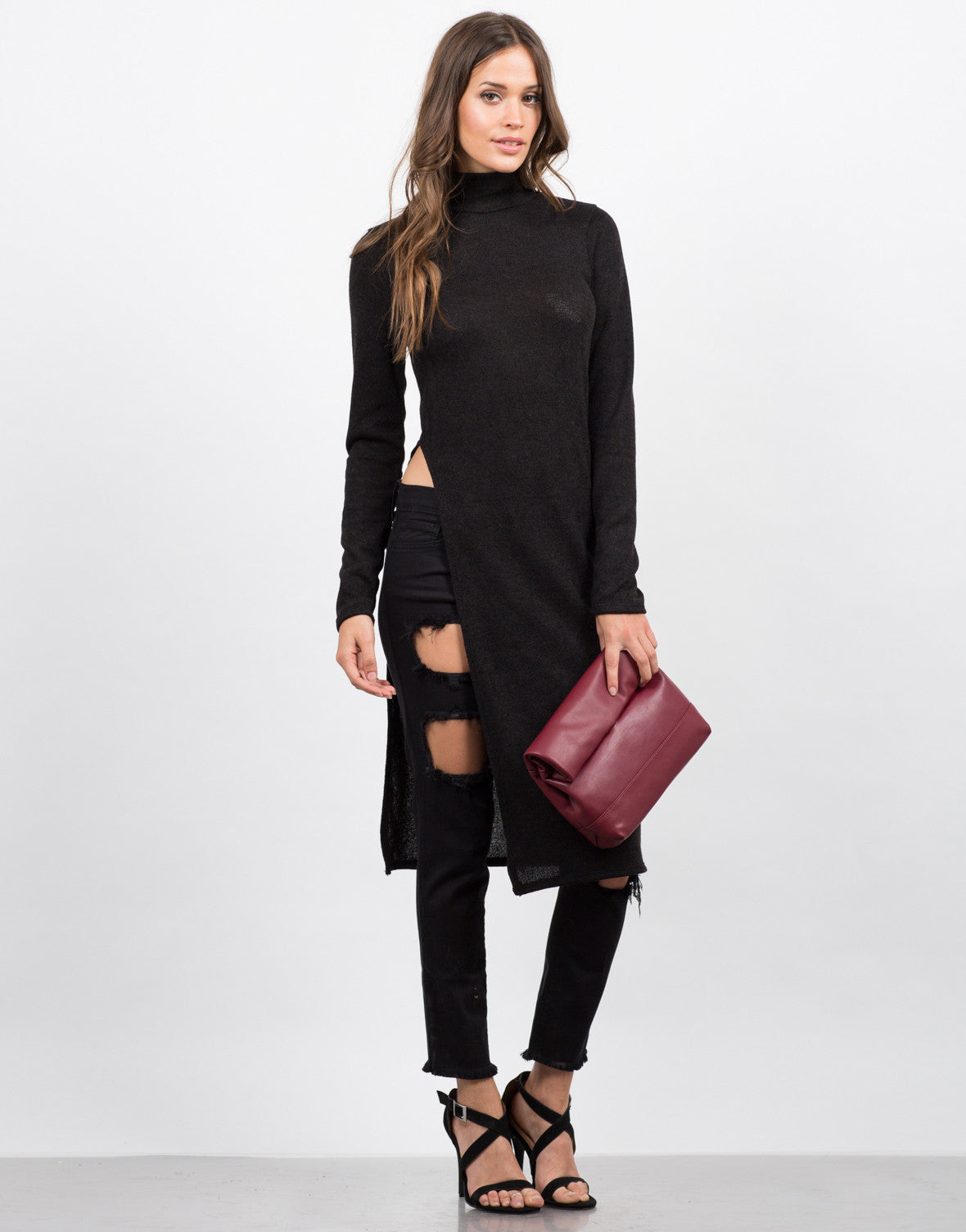 Front View of Turtleneck Side Slit Tunic Top
