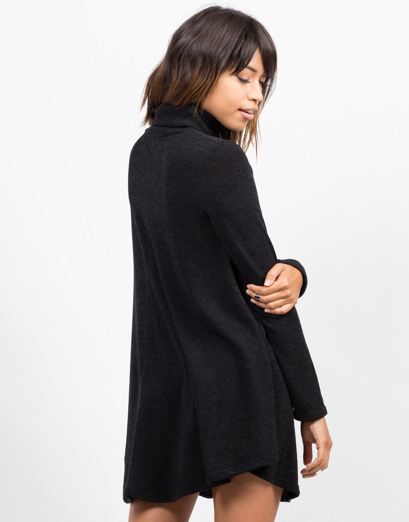 Back View of Turtleneck Knit Swing Dress