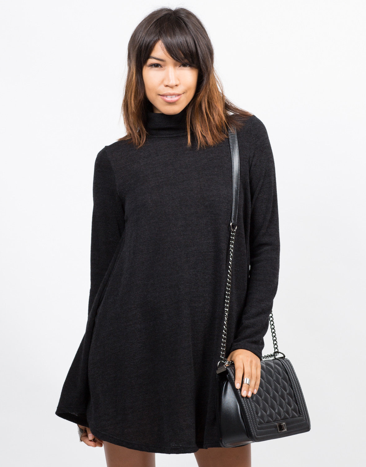 Front View of Turtleneck Knit Swing Dress