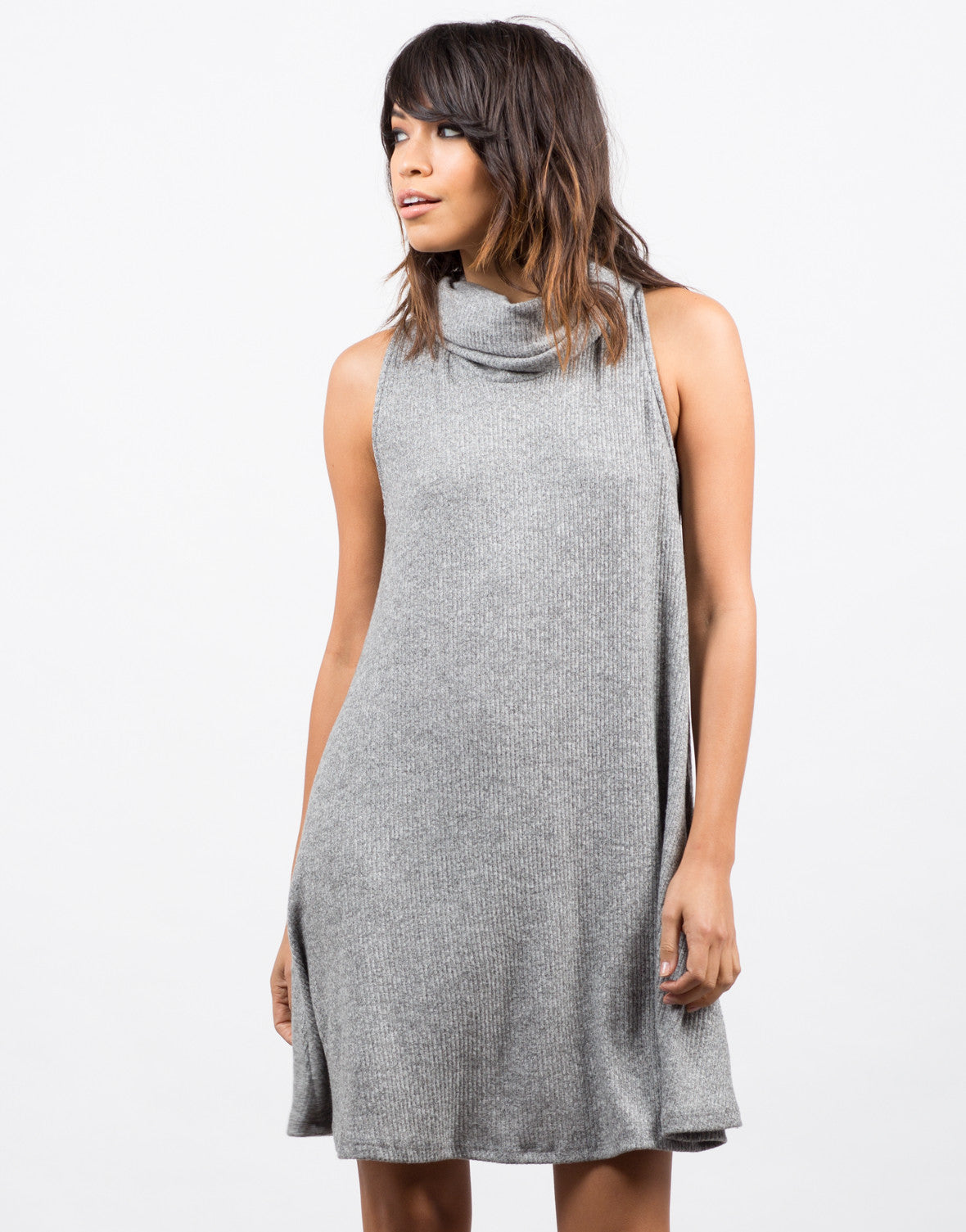 Front View of Turtleneck Swing Dress
