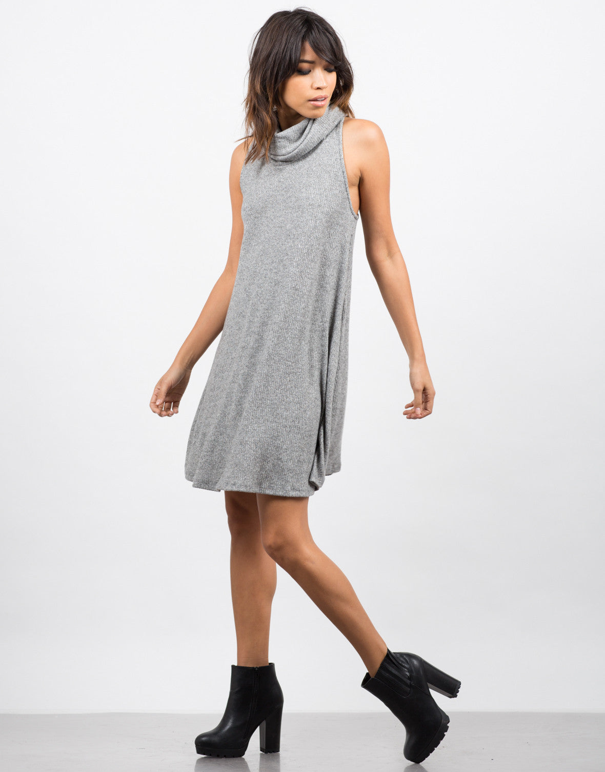 Side View of Turtleneck Swing Dress