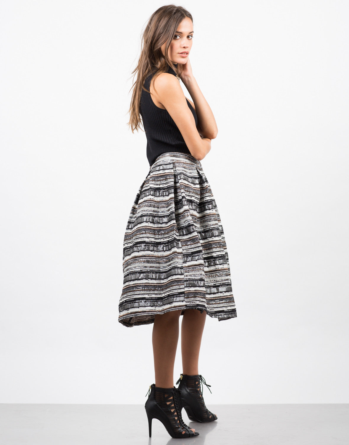 Side View of Tweed A-Line Skirt
