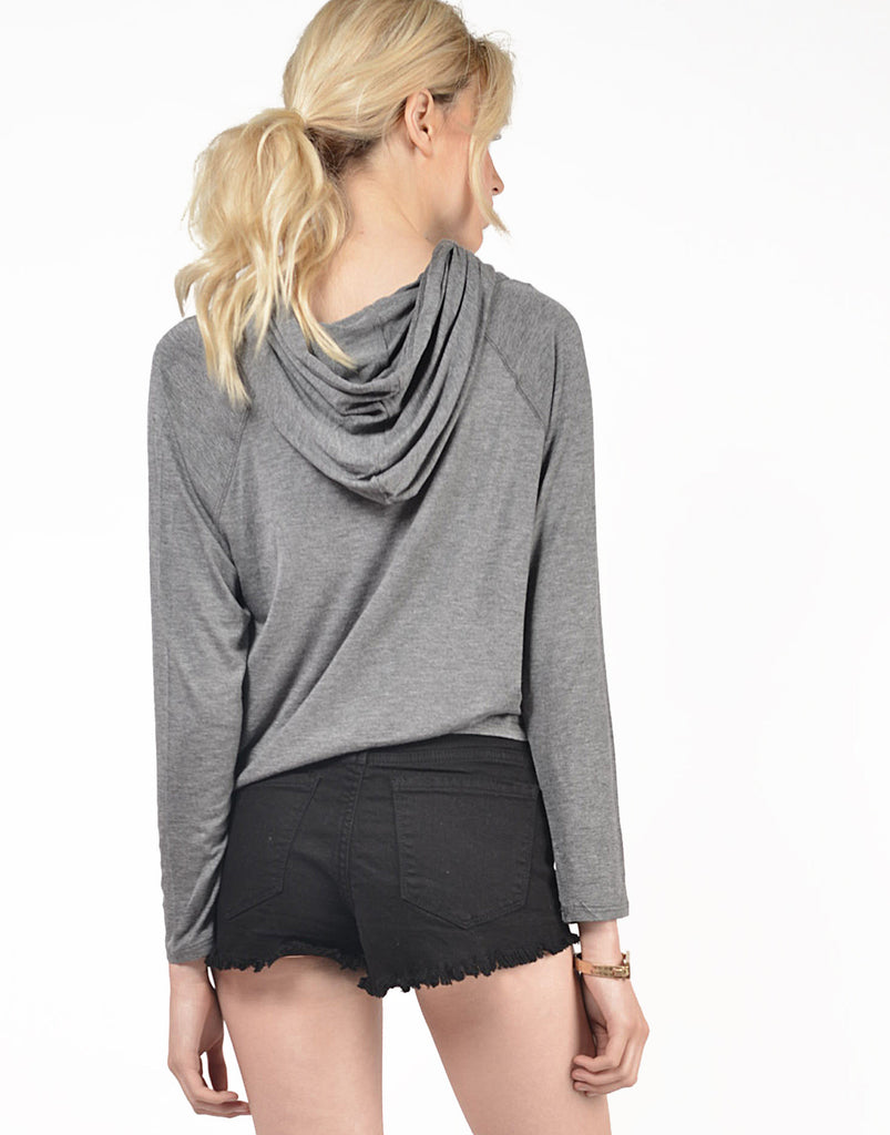 Back View of Twill Cropped Sweater Top