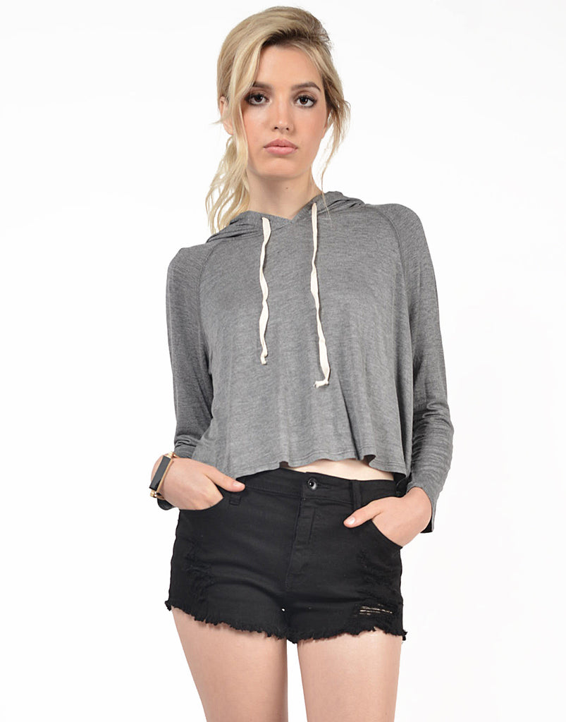 Front View of Twill Cropped Sweater Top