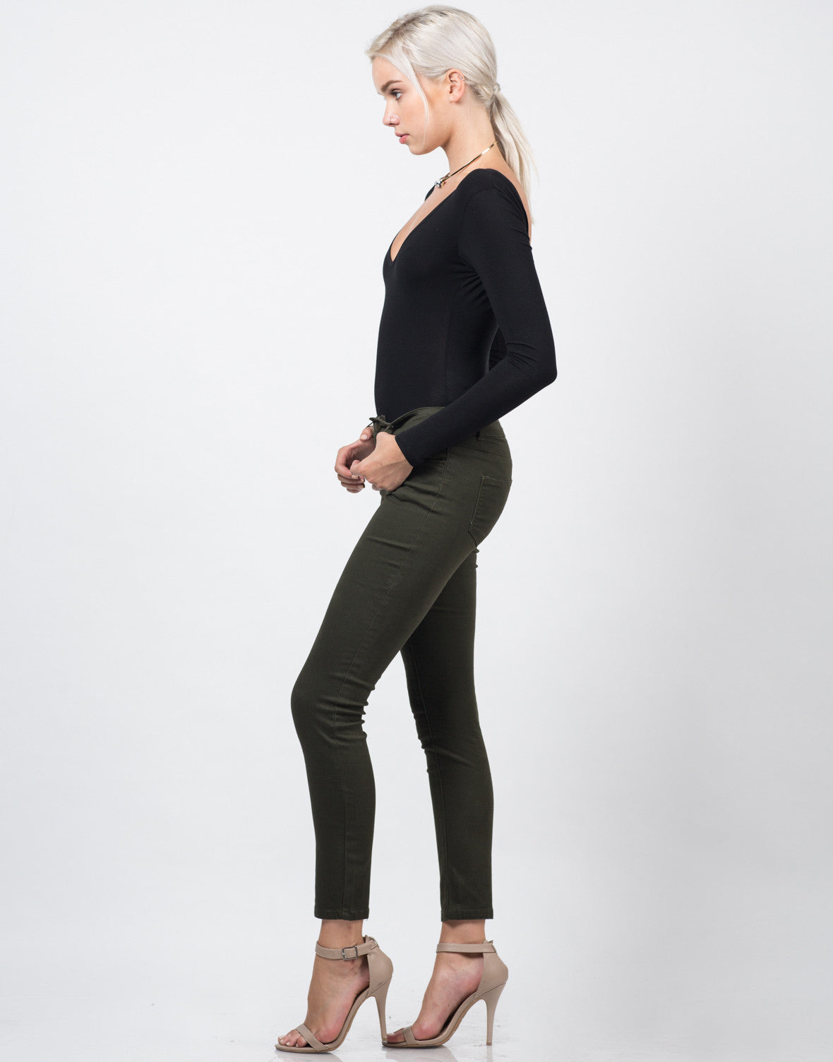 Side View of Twill High Waisted Pants