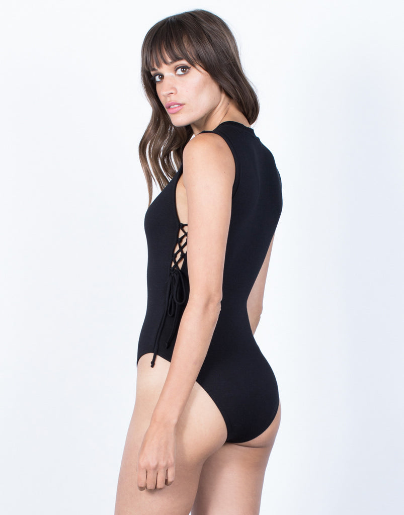 Back View of Twist and Tied Bodysuit