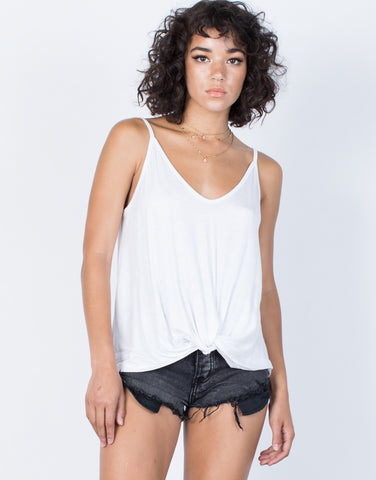 White Twist and Turn Cami - Front View
