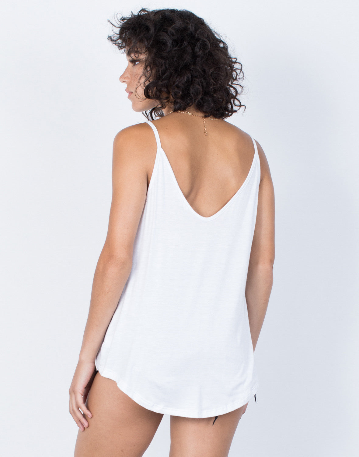 White Twist and Turn Cami - Back View