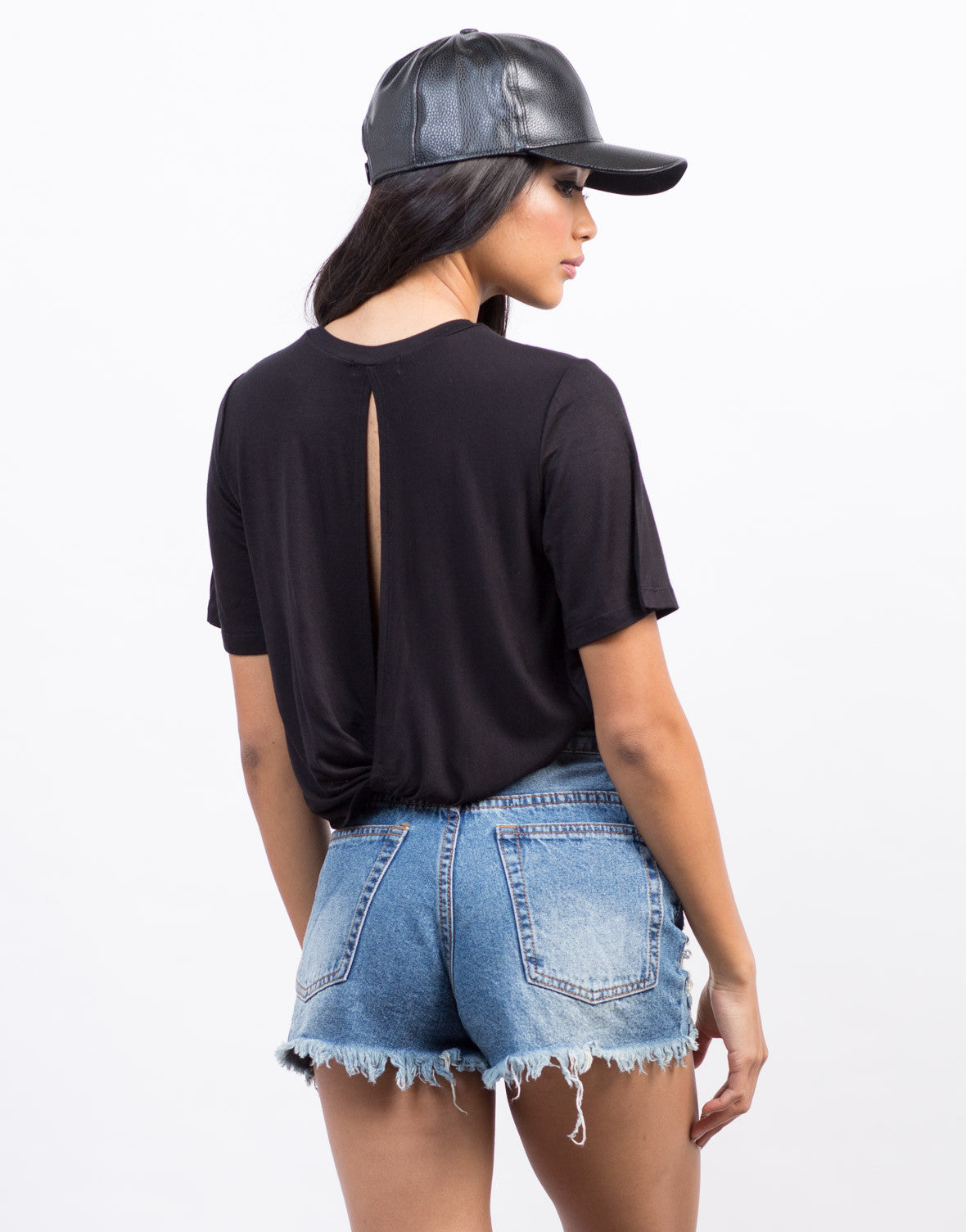Back View of Twist Back Cropped Tee
