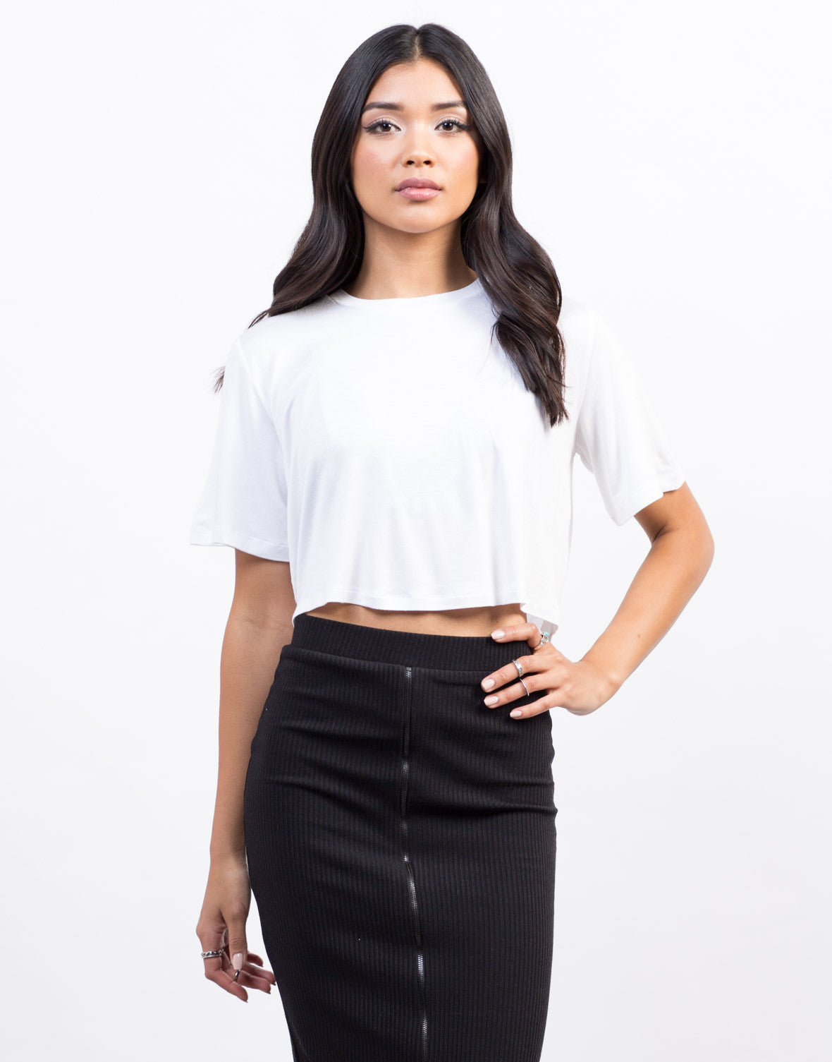Front View of Twist Back Cropped Tee