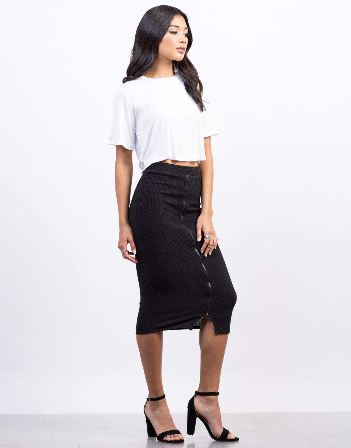 Side View of Twist Back Cropped Tee