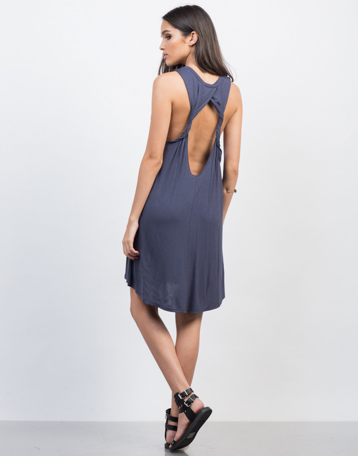 Back View of Twist Back Cut Out Dress