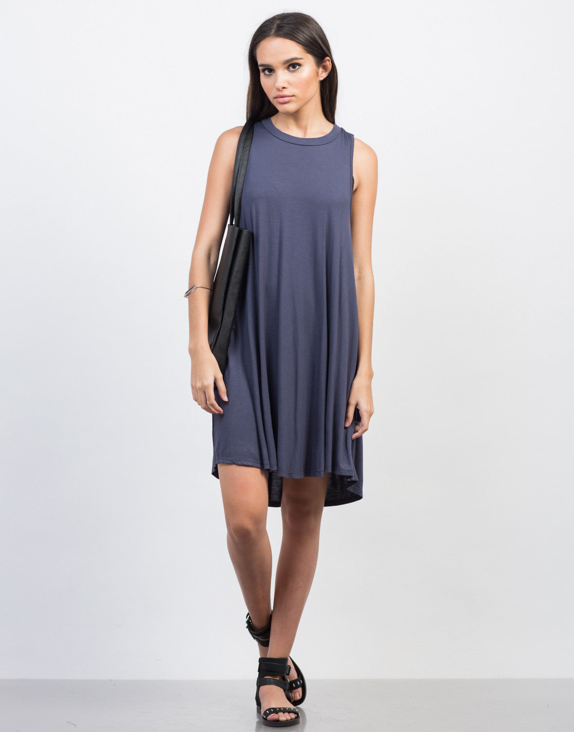 Front View of Twist Back Cut Out Dress