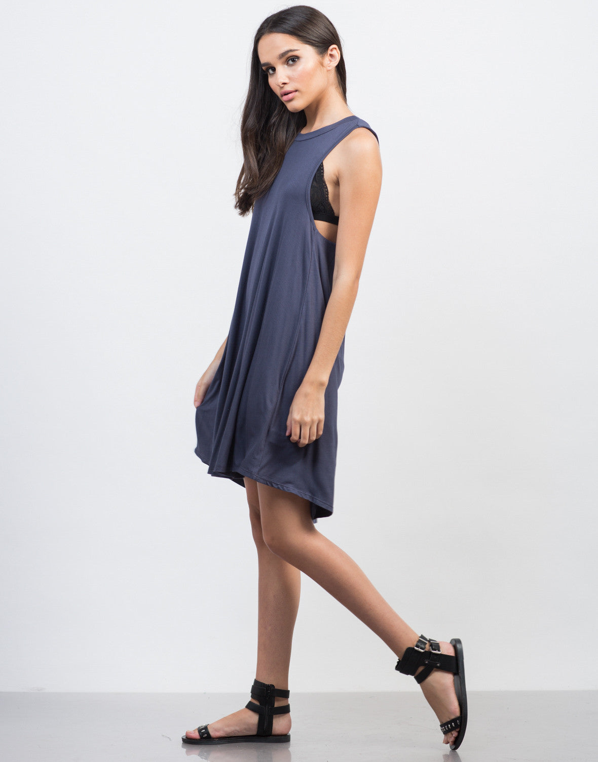 Side View of Twist Back Cut Out Dress