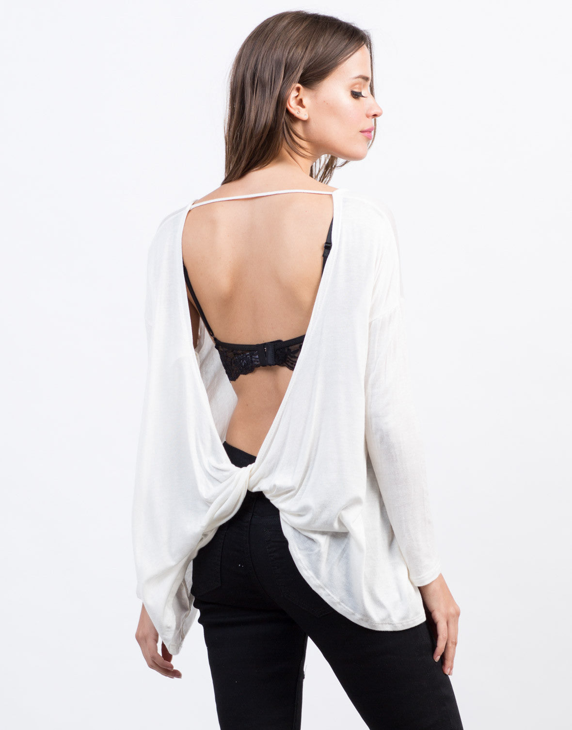 Back View of Twist Back Tee