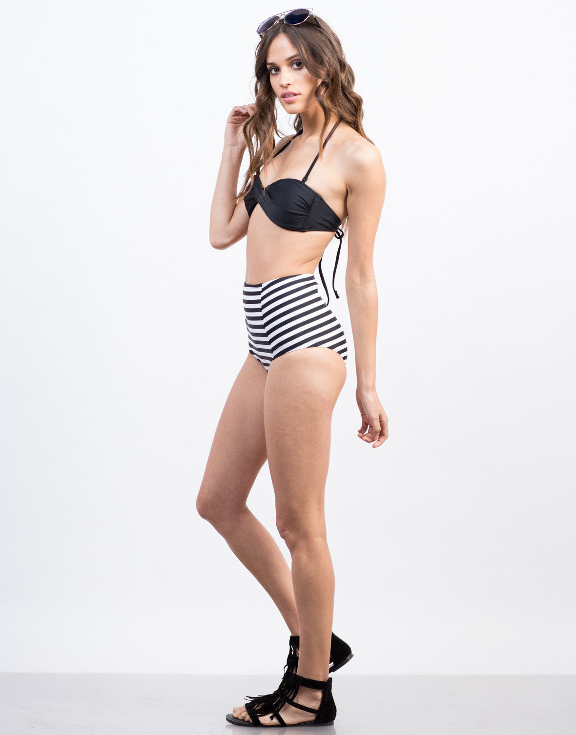Side View of Twist Front Bandeau Bikini Top