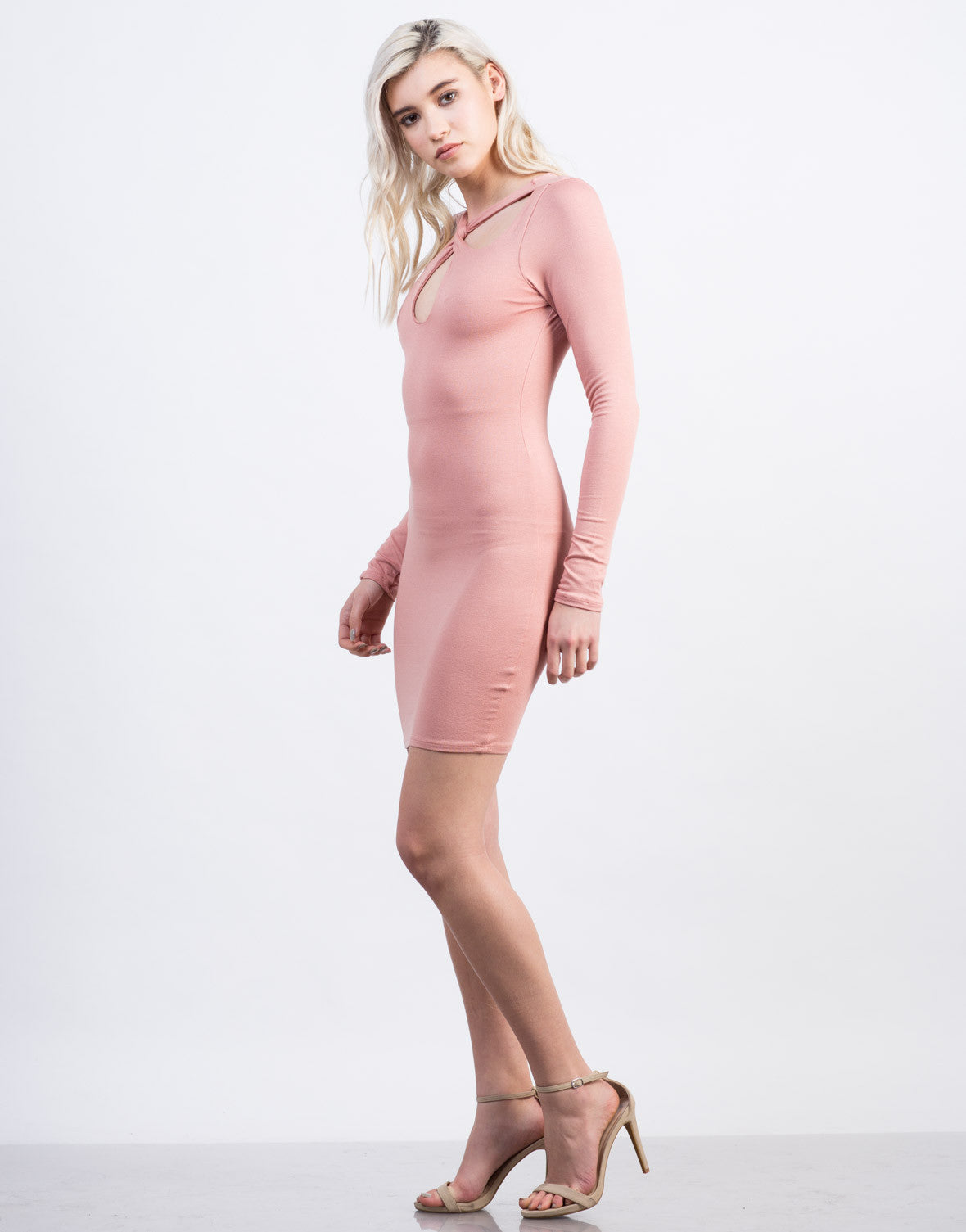 Side View of Twist Front Party Dress