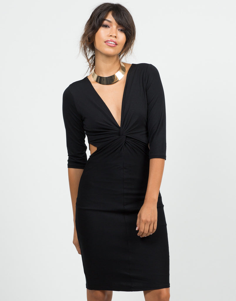 Front View of Twist Front Cut Out Dress