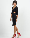 Side View of Twist Front Cut Out Dress