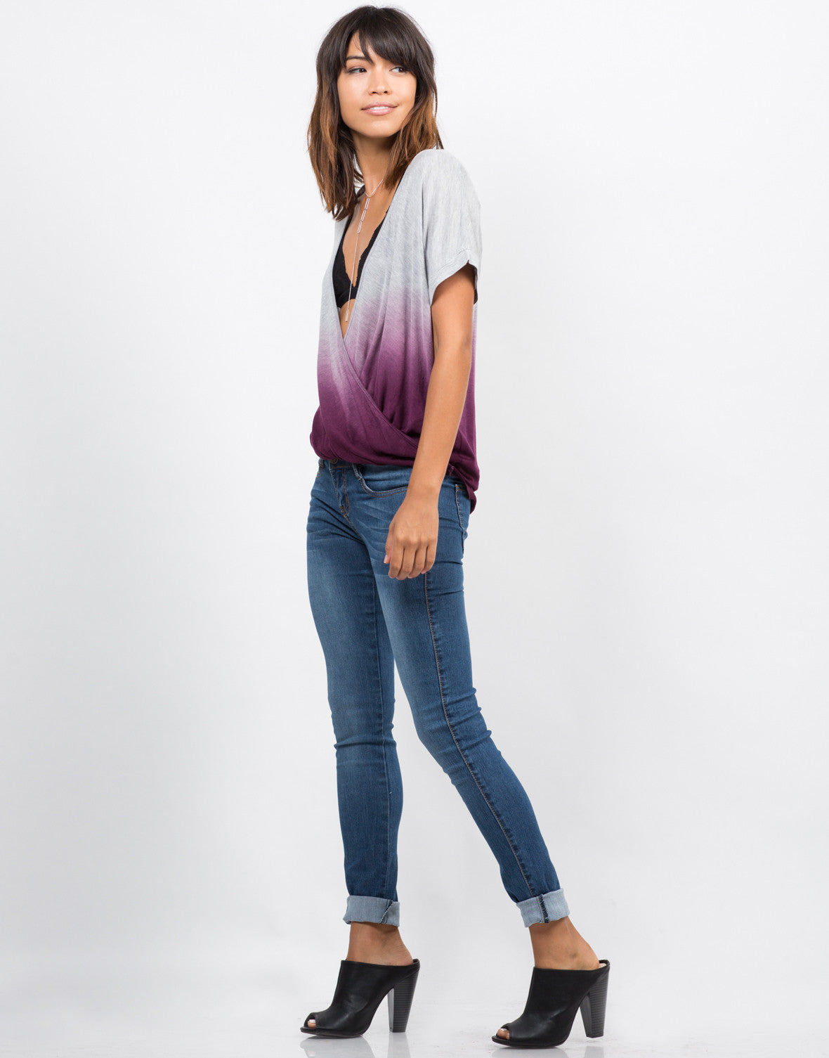 Side View of Twist Front Ombre Top